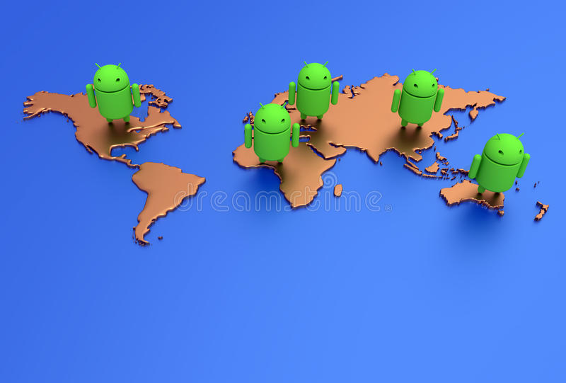 Android OS Operating System World Map stock illustration
