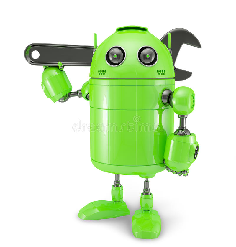 Android with wrench. Repair concept. Isolated on white vector illustration