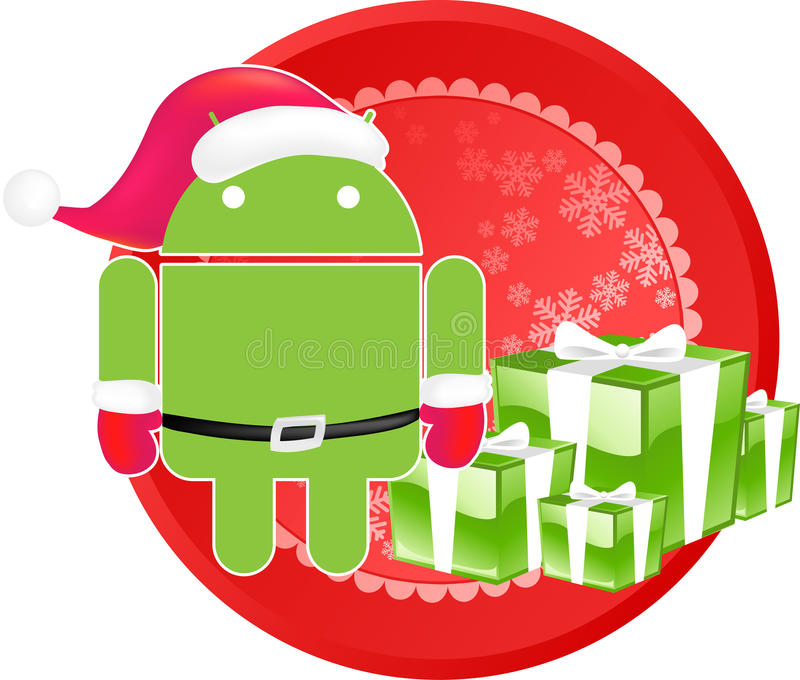 Android xmas logo. Android xmas theme for your business royalty free illustration