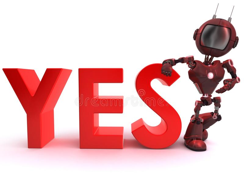 Android with yes sign. 3D Render of an Android with yes sign royalty free illustration