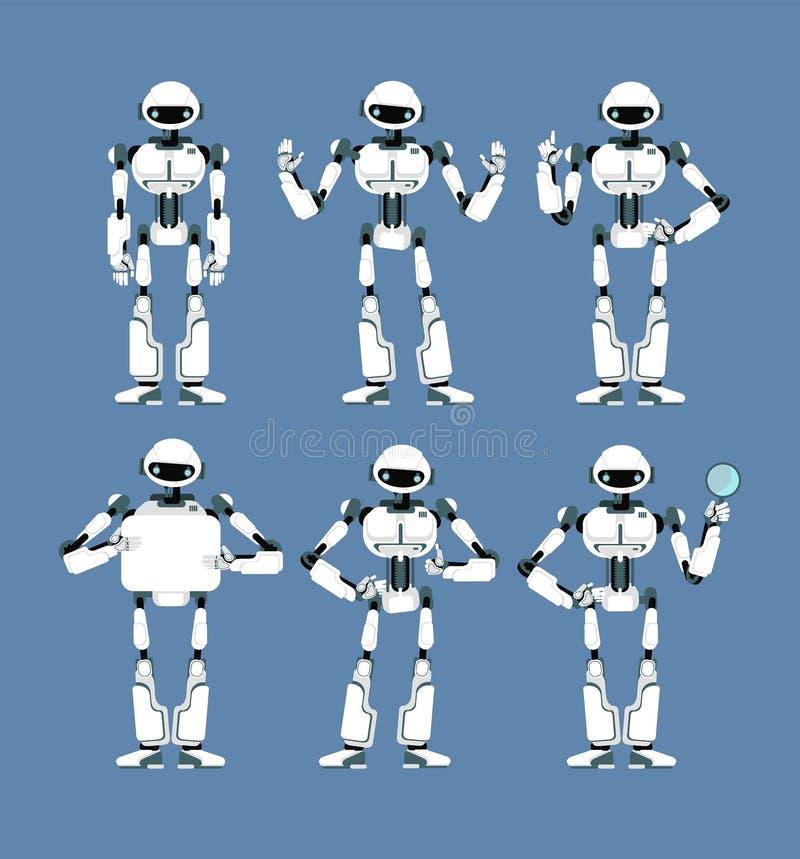 Androide cibernetico del robot con le armi bioniche ed occhi nelle pose differenti Insieme sveglio della mascotte di umanoide di  illustrazione di stock