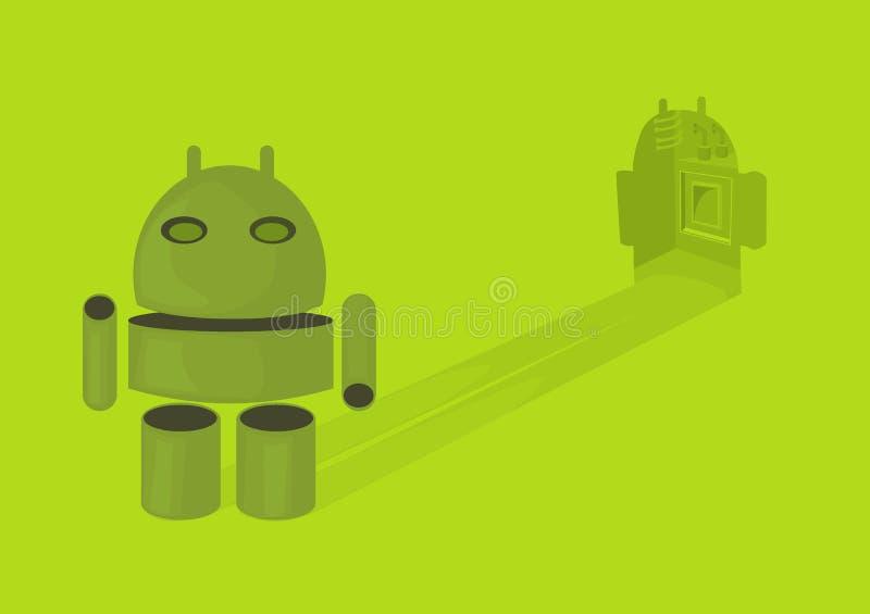 Androide de la sombra de la tableta fotografía de archivo libre de regalías