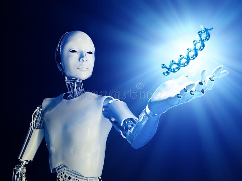 Androide futurista con un filamento de la DNA stock de ilustración
