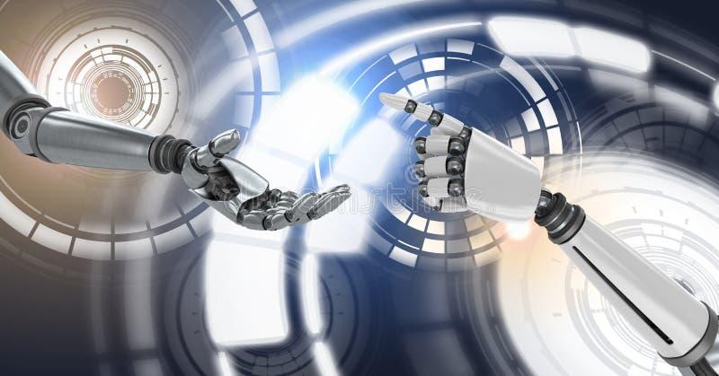 Androide Hände des Roboters, die erreichende und glühende Kreistechnologieschnittstelle berühren stockbild