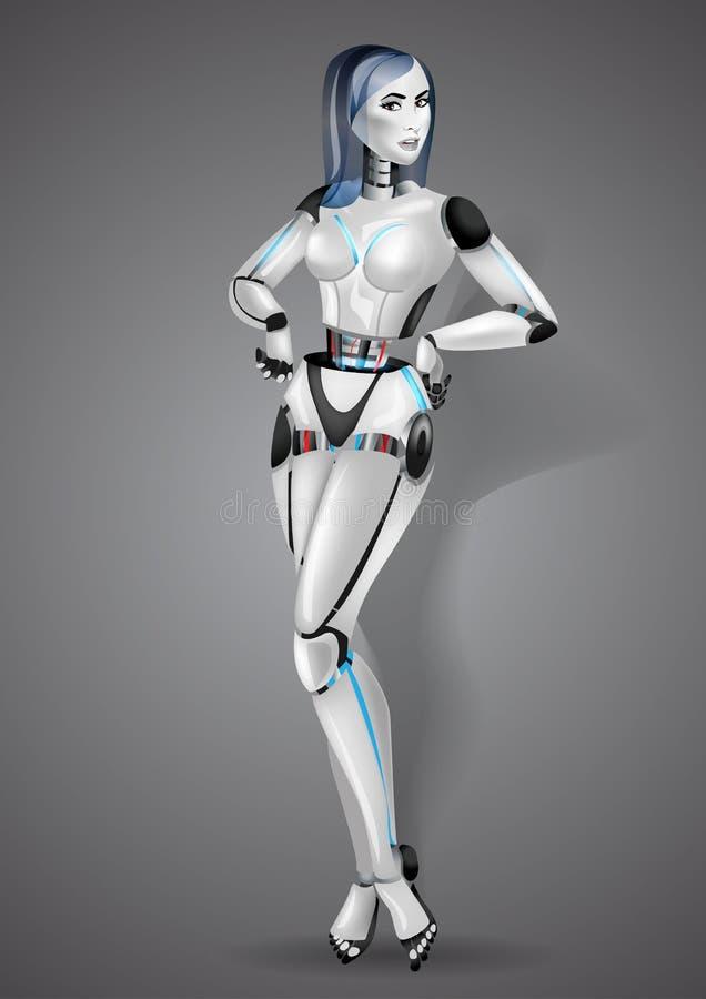 Androide hermoso del robot de la muchacha en fondo gris ilustración del vector