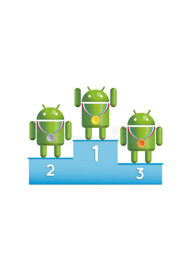 Androide Roboterpodiumsieger stock abbildung