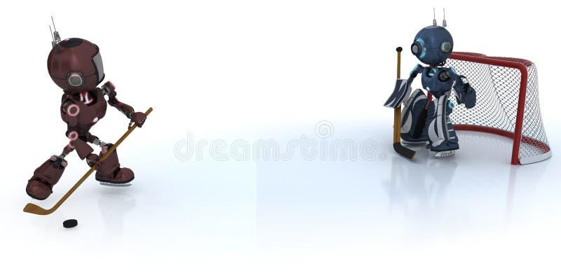 Androides que juegan a hockey sobre hielo stock de ilustración