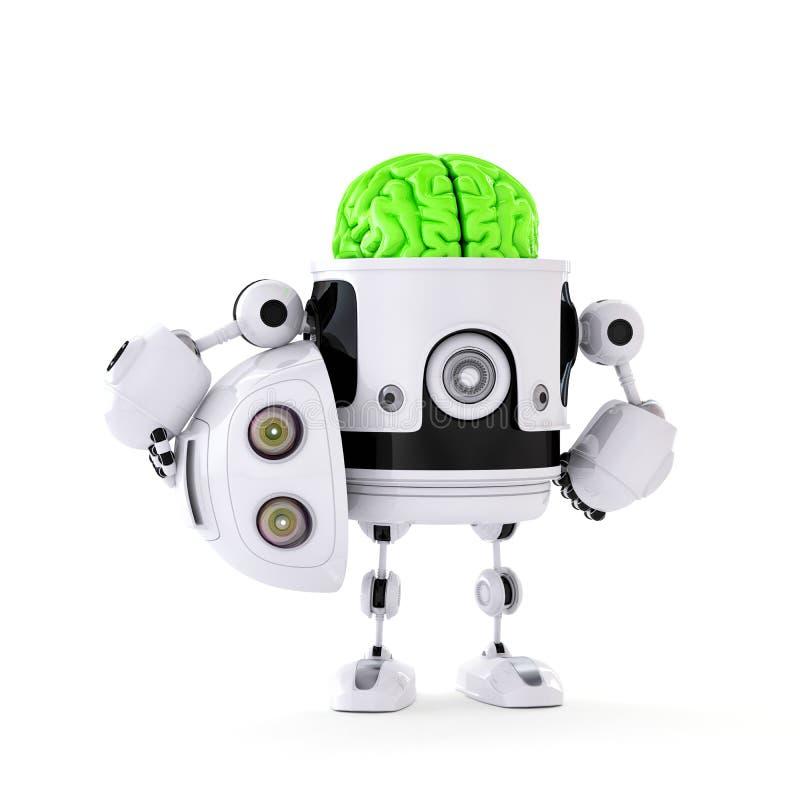 Androidrobot med den enorma gröna hjärnan. Konstgjort intellektbegrepp royaltyfri illustrationer