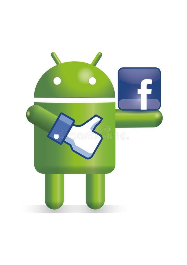 Androidrobot med facebooktumen och logo vektor illustrationer