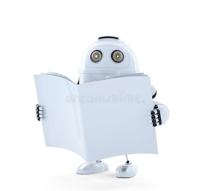 Androidrobot med handboken royaltyfri illustrationer