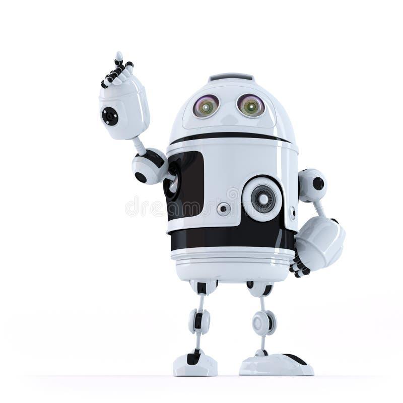 Androidrobot som pekar på osynligt objekt royaltyfri illustrationer