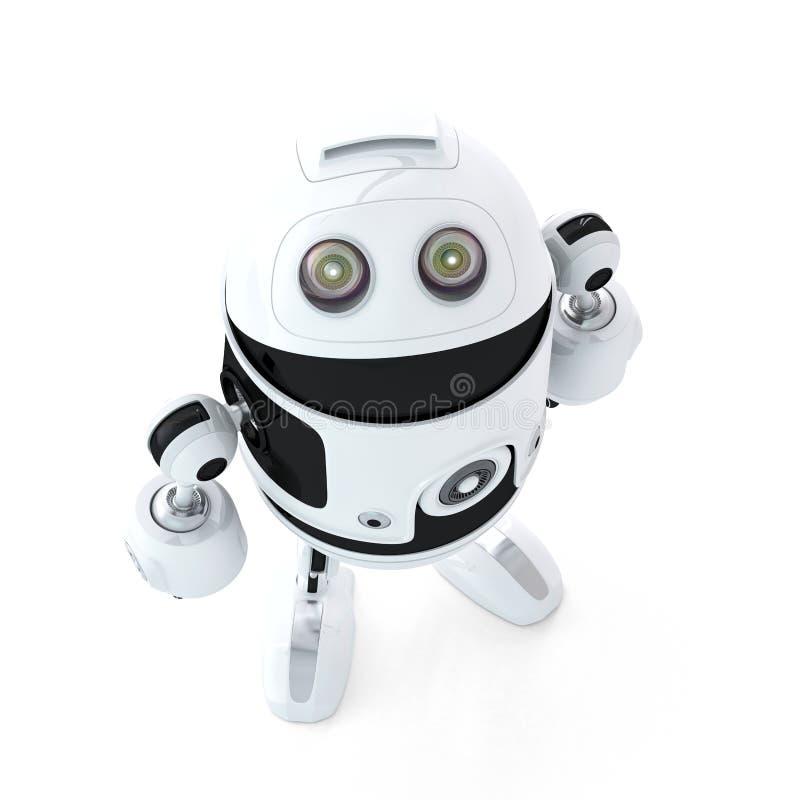 Androidroboten ser upp royaltyfri illustrationer