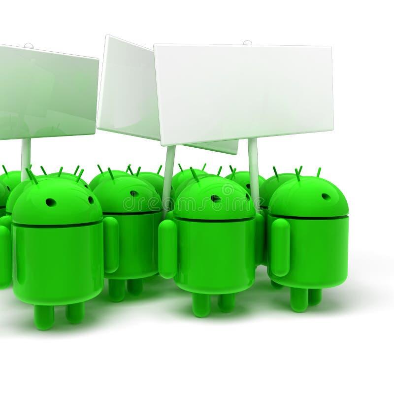 androids 3D verdes na caricatura da batida ilustração do vetor