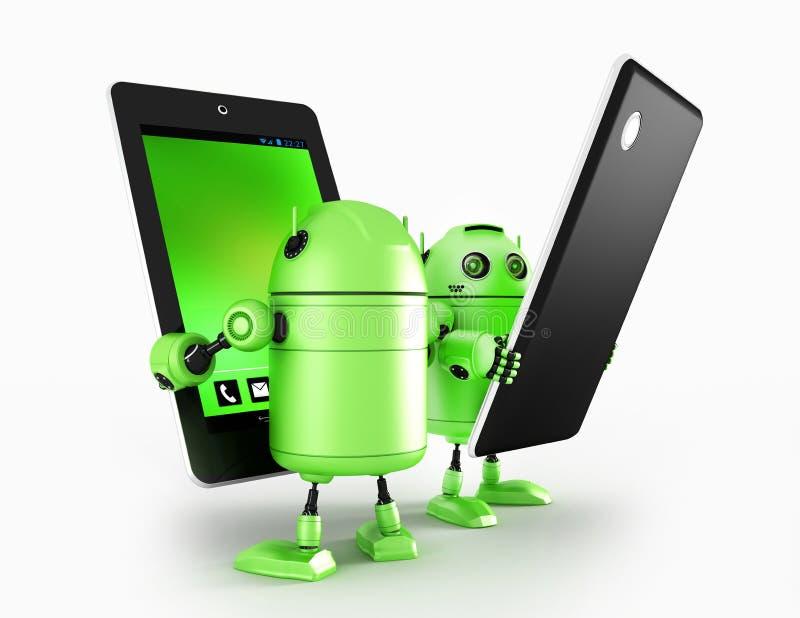 Androids met tablet vector illustratie