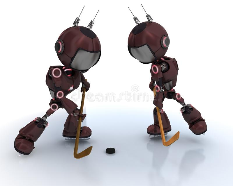 Androids playing ice hockey royalty free illustration