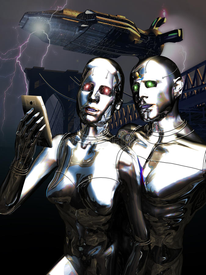 Androids selfie. Couple of androids taking a selfie as they are invading the Earth