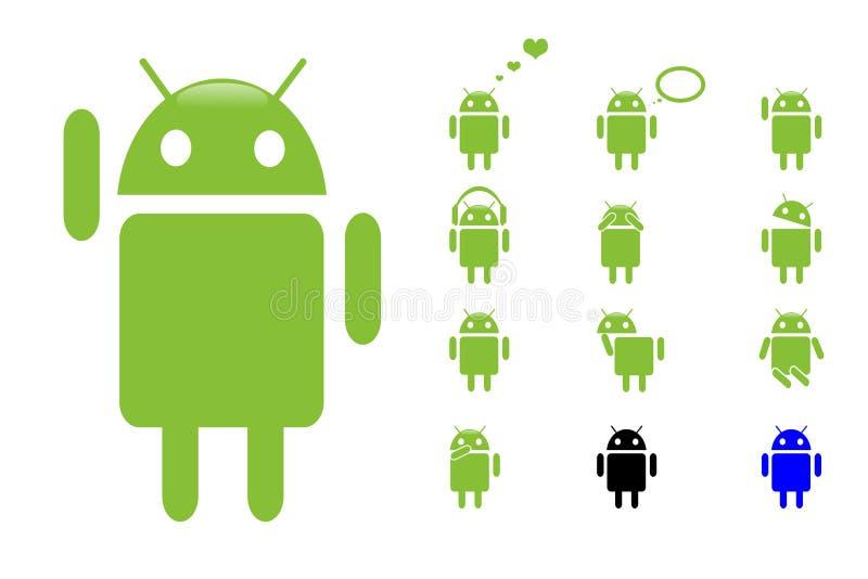 androidsymboler royaltyfri illustrationer