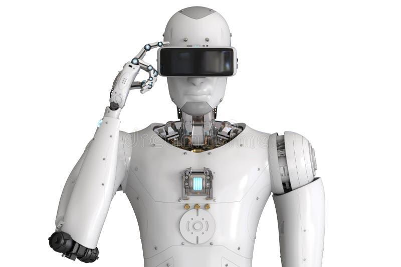 Androidu robot jest ubranym vr słuchawki royalty ilustracja