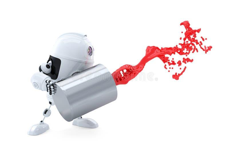 Androidu robot nalewa farbę z puszki.