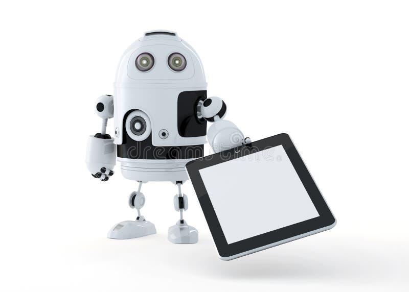 Androidu robot trzyma pustego cyfrowego pastylka komputer osobistego. royalty ilustracja