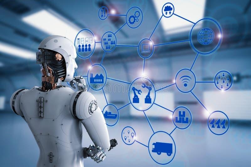 Androidu robot z przemysłową siecią royalty ilustracja