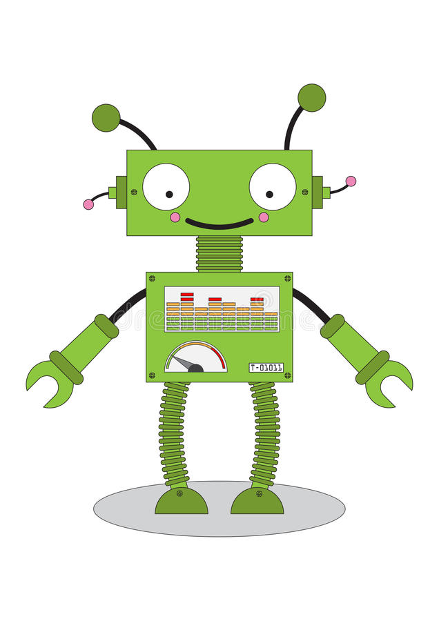 Androidu robota kreskówki zabawkarska ikona ilustracja wektor