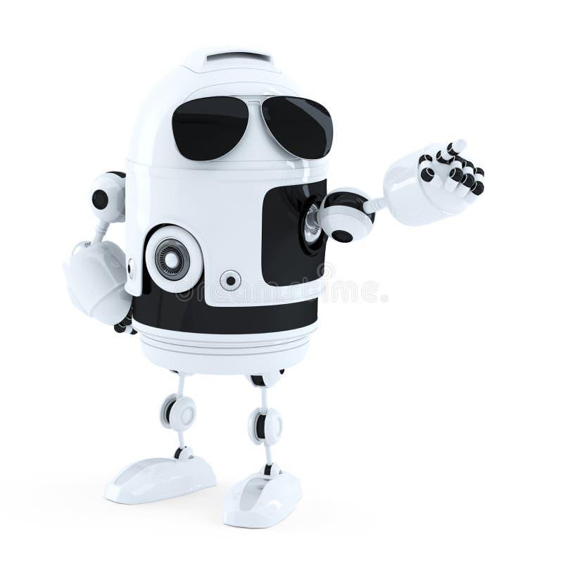 Androidu robota punktu palec opróżniać kopii przestrzeń ilustracja wektor