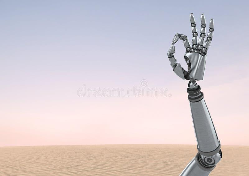 Androidu robota ręki gesta OK z pustynnym nieba tłem ilustracji