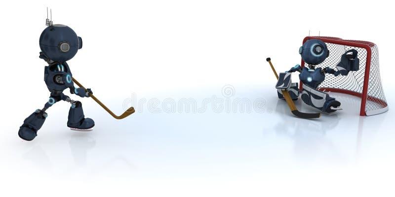Androidy bawić się lodowego hokeja ilustracja wektor
