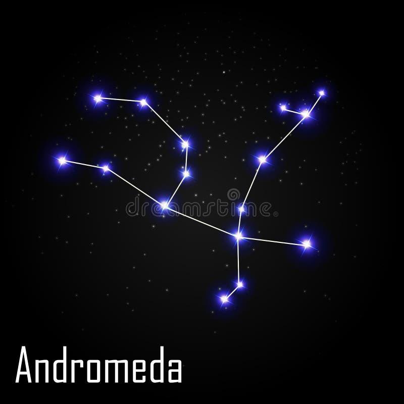 Andromeda Constellation com a estrela brilhante bonita ilustração stock