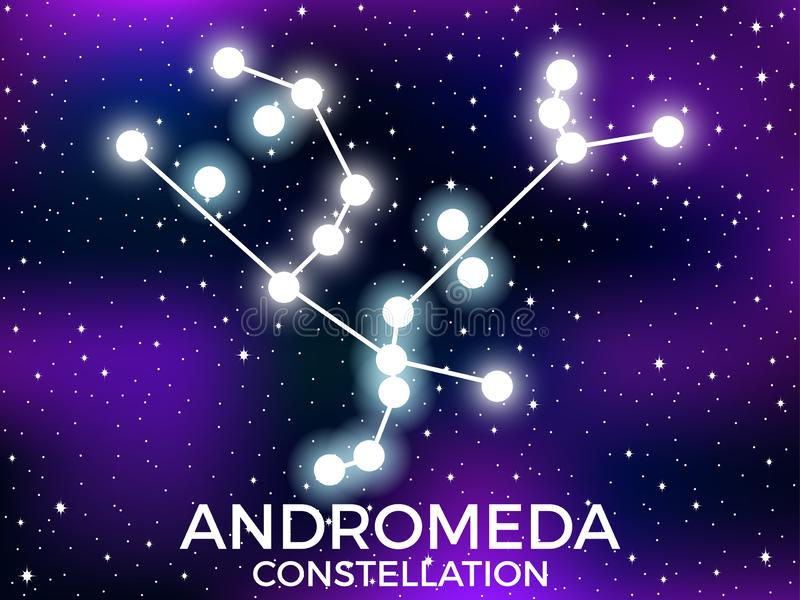 Andromeda constellation. Starry night sky. Cluster of stars and galaxies. Deep space. Vector. Illustration royalty free illustration