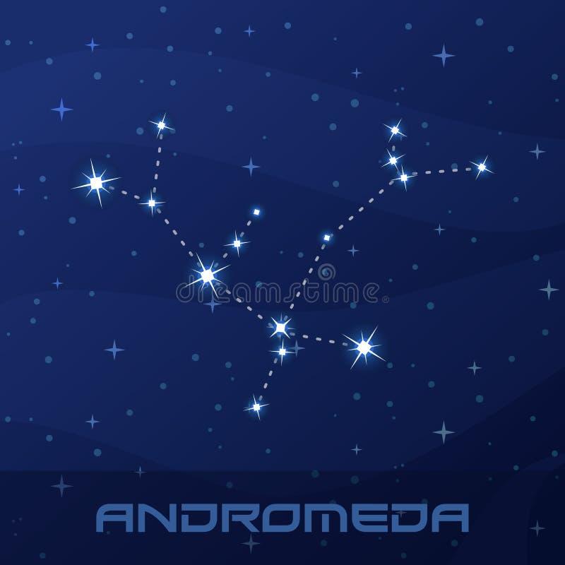 Andromeda da constelação, princesa, céu da estrela da noite ilustração stock