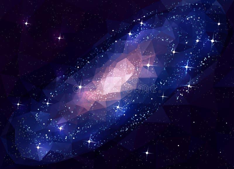 Andromeda da galáxia do espaço profundo baixo poli ilustração stock