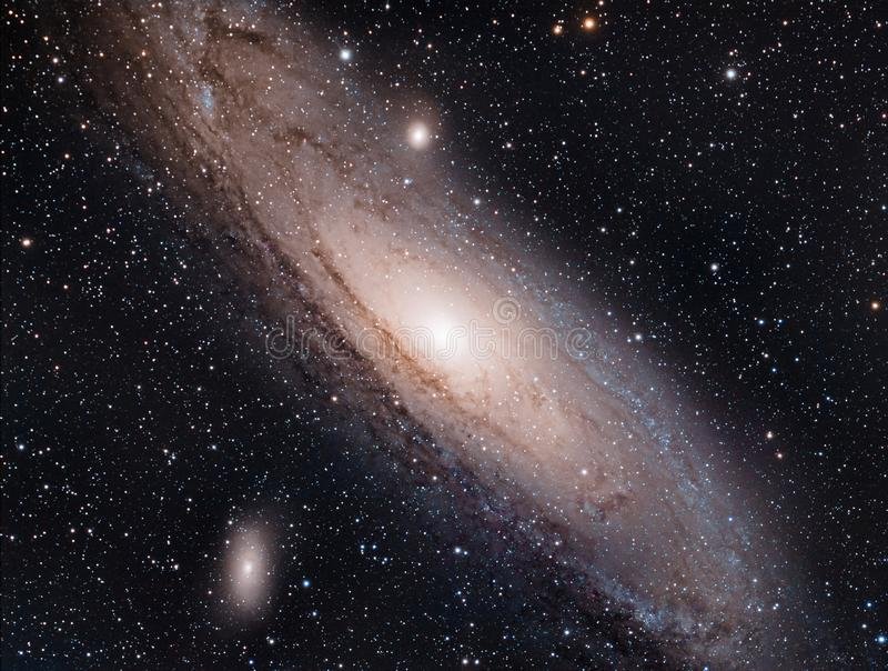 Up Close And Personal with M31, The Andromeda Galaxy. The Andromeda galaxy fills the frame and a little bit more in this image from Abiquiu Reservoir, NM. M31 royalty free stock photos