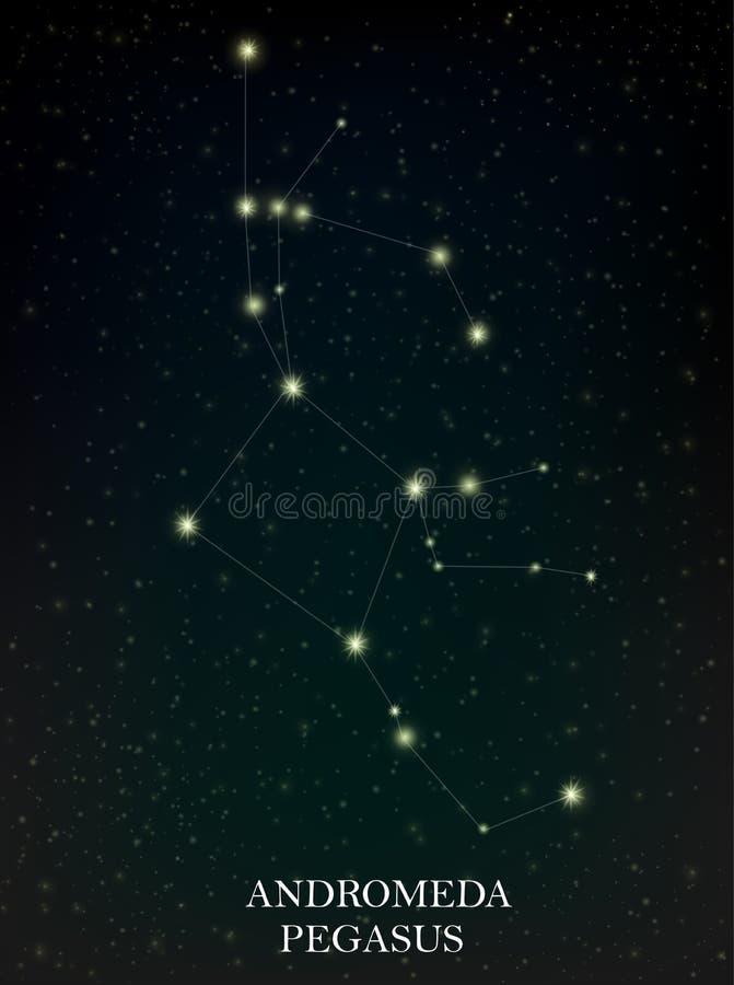 Andromeda and Pegasus constellation vector illustration