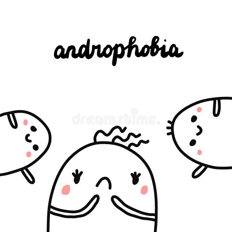 Androphobia hand drawn illustration with cute marshmallow. Cartoon minimalism vector illustration