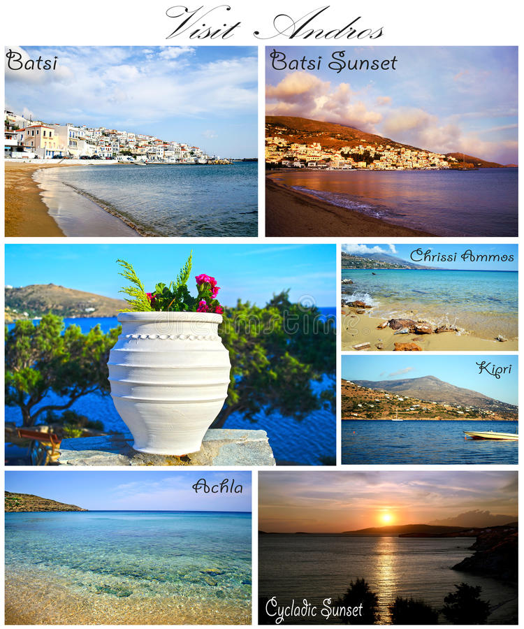 Andros collage Cyclades Greece stock photos