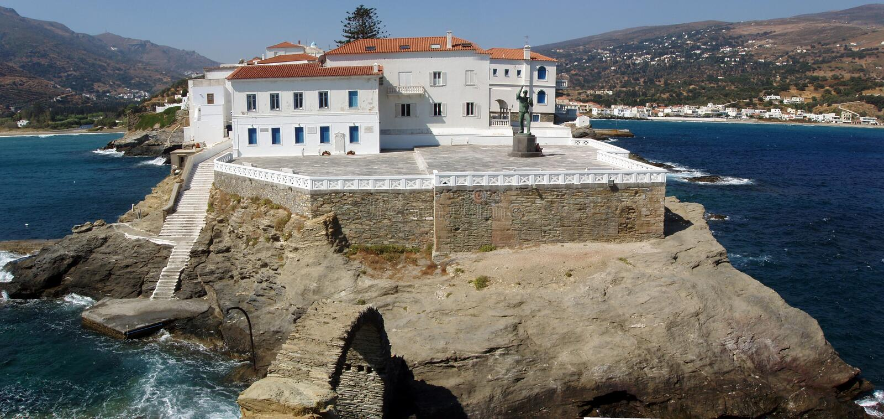 andros greece ö royaltyfria bilder