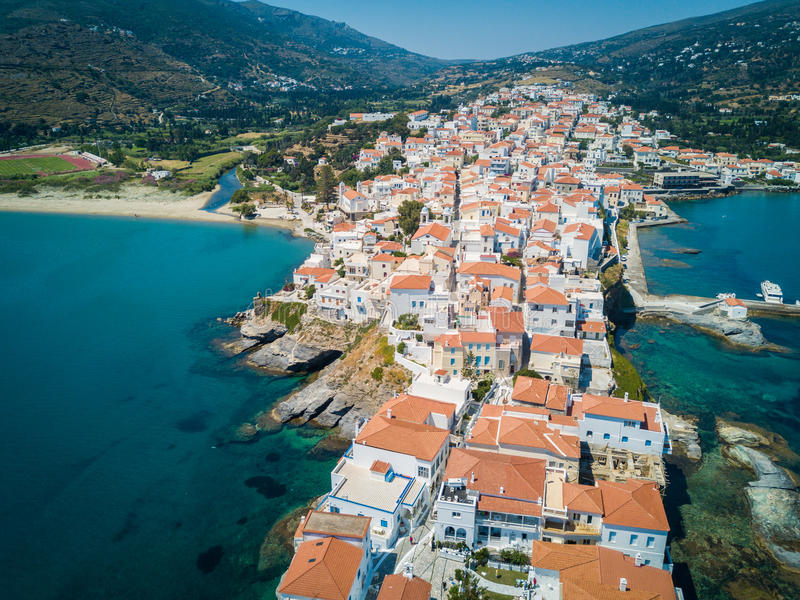 Andros Island Greece. Aerial view. Greek Islands royalty free stock photography
