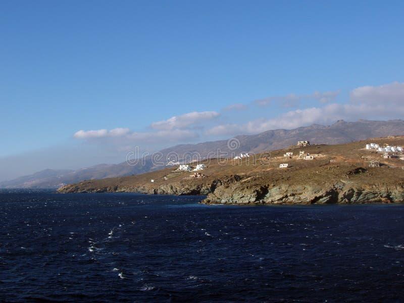 andros kust ungefärliga greece royaltyfri fotografi