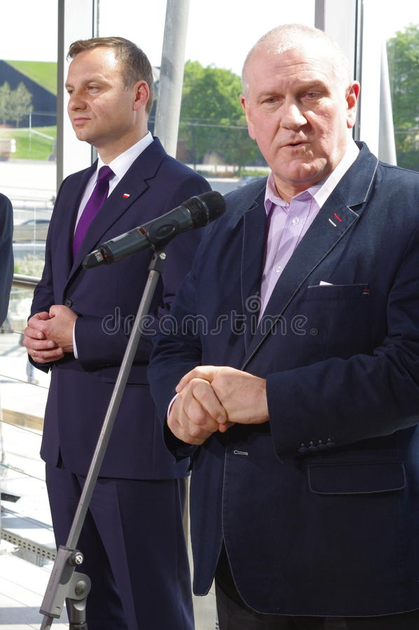Andrzej Duda and Jan Guz during press conference in Katowice royalty free stock image