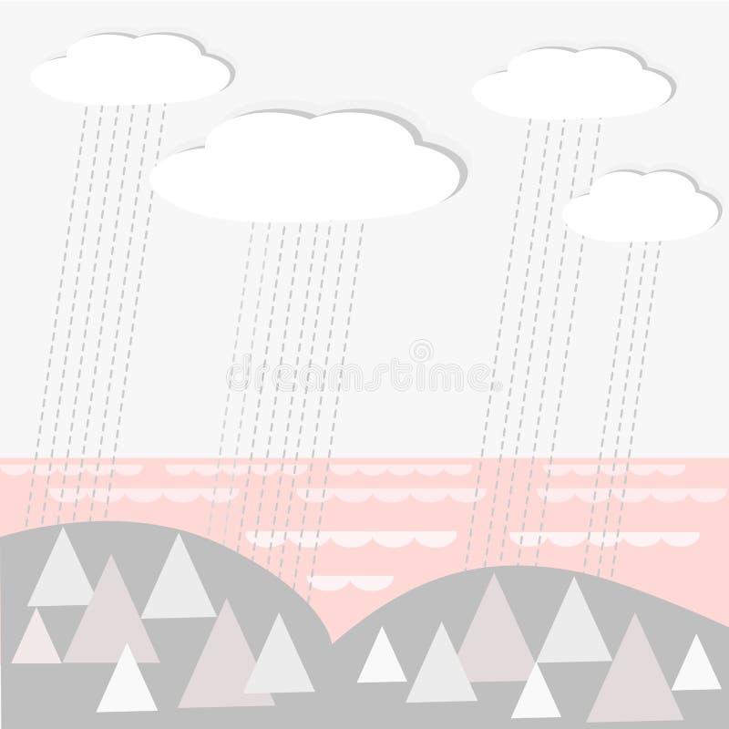 Διανυσματικό τοπίο bacground με τα βροχερές σύννεφα, το ξύλο και τη θάλασσα διανυσματική απεικόνιση