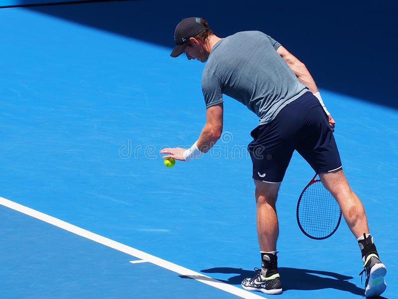 Andy Мюррей на открытом чемпионате Австралии по теннису 2019 стоковое фото