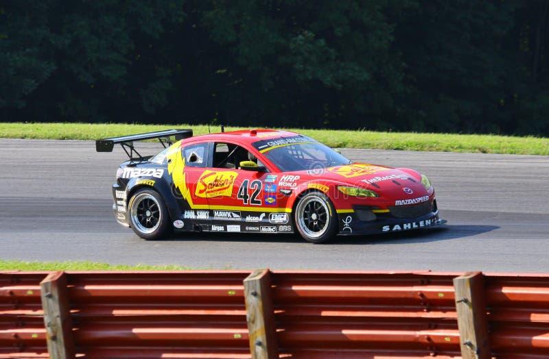 Andy Lally in Mazda RX-8 fotografia stock libera da diritti