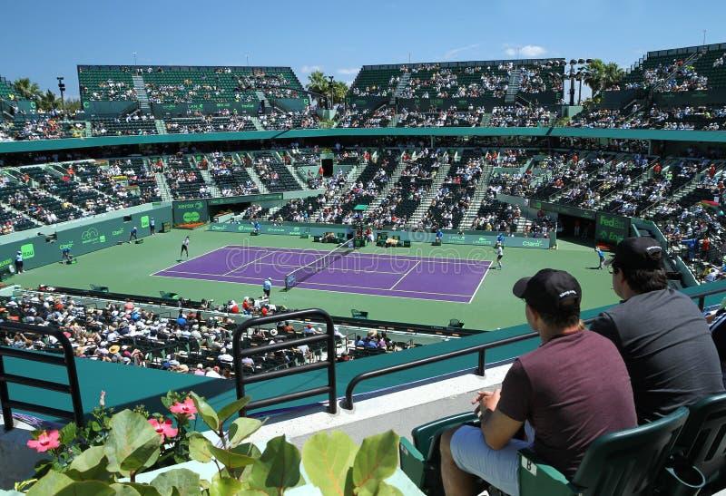 Andy Murray e Santiago Giraldo no Miami aberto fotos de stock royalty free