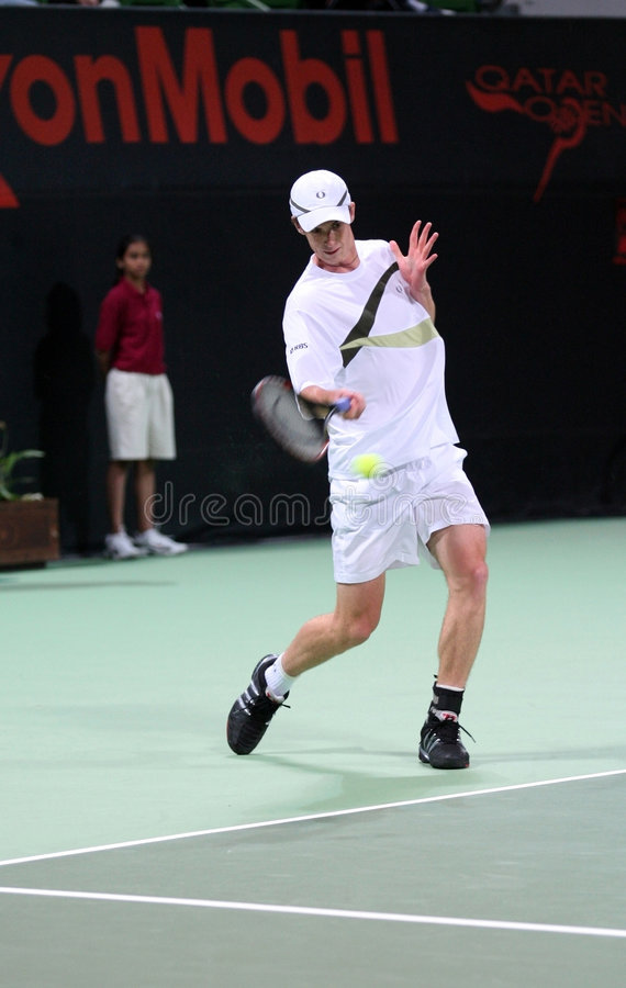 Andy Murray playing in Qatar stock photos