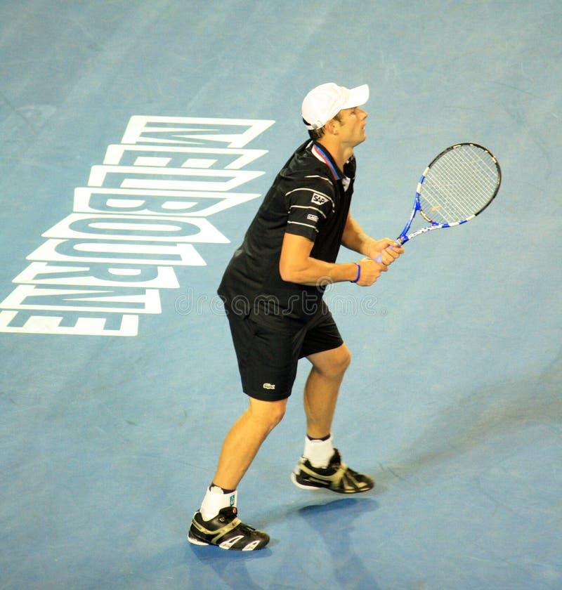 Andy Roddick no australiano abre 2010 fotografia de stock