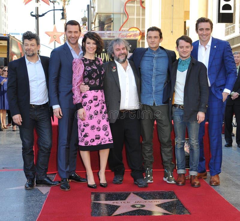 Andy Serkis & Richard Armitage & Evangeline Lilly & Peter Jackson & Orlando Bloom & Elijah Wood & Lee Pace stock image