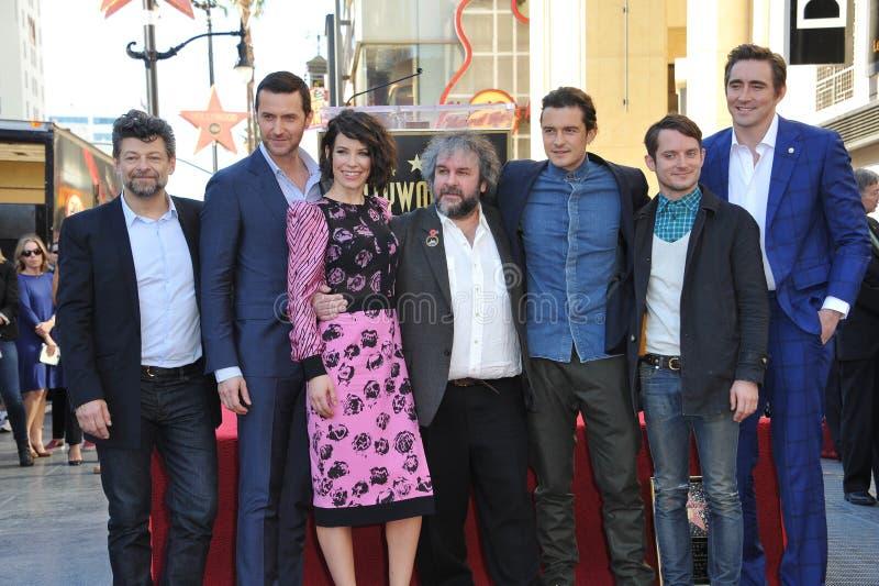 Andy Serkis & Richard Armitage & Evangeline Lilly & Peter Jackson & Orlando Bloom & Elijah Wood & Lee Pace stock images