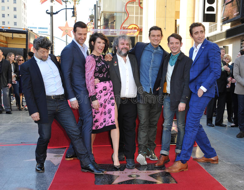 Andy Serkis & Richard Armitage & Evangeline Lilly & Peter Jackson & Orlando Bloom & Elijah Wood & Lee Pace stock photo